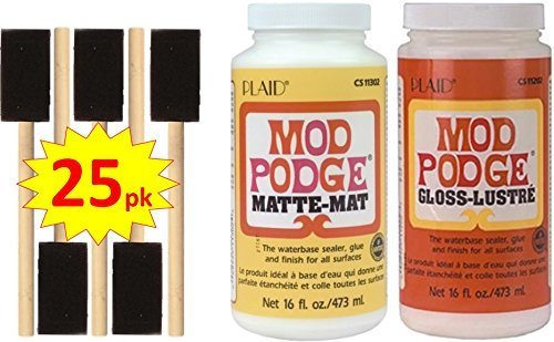 Mod Podge Original 16-Ounce Glue, Matte Finish and 16-Ounce Gloss Finish. Includes 25 1-inch Foam Brushes. Never Be Stuck Without The Right Finish!