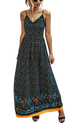 Spec4Y Kleider Damen Lang Sommer Blumen Sommerkleider V-Ausschnitt Ärmellos Maxikleider Elegant Partykleid Strandkleider 2007 Dunkelblau XX-Large