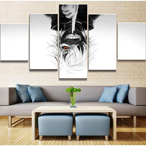 Cuadro En Lienzo Decoracion 5 Piezas HD Imagen Impresiones En Lienzo Láminas De Tokyo Ghouls Lienzo Grandes XXL Murales Pared 5 Paneles De Pinturas De Obras De Arte Moderno