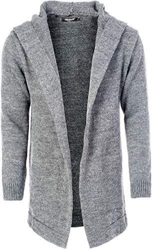 CARISMA Herren Strickjacke Herren Jacke mit Kapuze (XL, Grey)