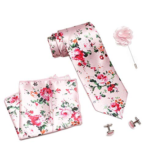 nu-Lite Men's Micro Polyester Floral Necktie Set with Pocket Square and Brooch Pin (Pink ,Free Size)