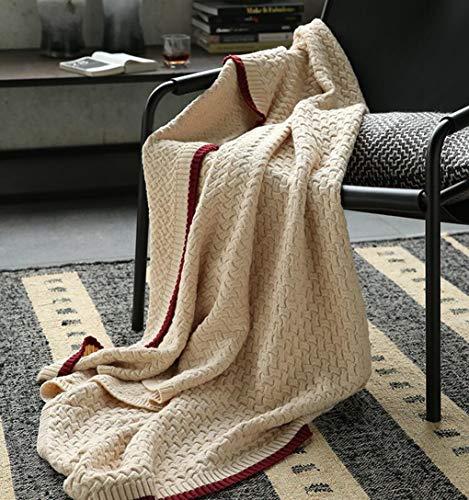 HCYTPL 100% Pure Wol Deken Gooi Warm & Gezellig voor Bank Slaapbank, Beige