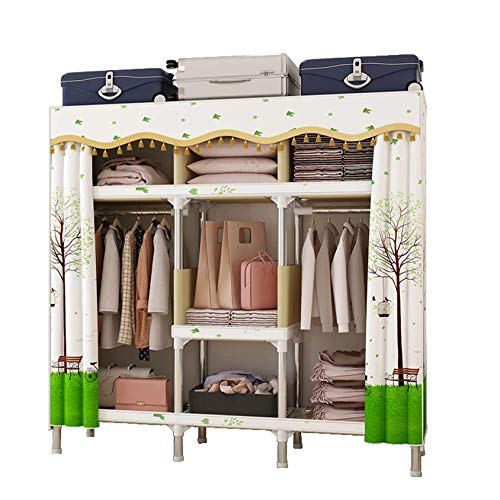 XYDDC Armario de Dormitorio de Uso en el hogar, Armario de Tela Grande Moderno Minimalista con Marco de Acero Completo Grueso