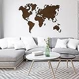 Detalles Creativos - Mapas de Mundo Decorativos para Pared Premium. Distintos tamaños y Materiales Ideal para Interiores (Wengue sin Nombre, 200 x 120 cm)