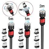 AMZLIFE Magnetisches Ladekabel[3Stück 1m+1m+2m]3 in 1 Magnet USB kabel,360°&180°Rotierendes...