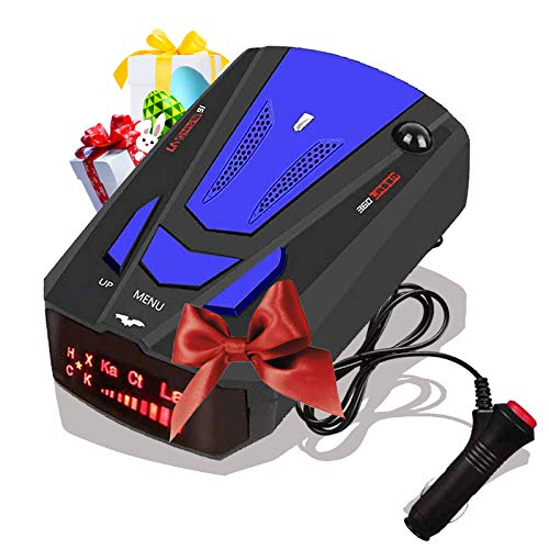 [2021 Newest] Radar-Detector-for-Cars,Laser Radar Detector Voice Prompt Speed,Vehicle Speed Alarm System,LED Display,City/Highway Mode,Auto 360 Degree Detection for Cars (Blue)