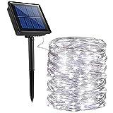 SOLARBABY フェアリーソーラーライト 200 LED 8モード ソーラークリスマスライト アウトドア 防水 銅線 ソーラーストリングライト ホリデーパーティー ガーデン パティオ クリスマス ホワイト