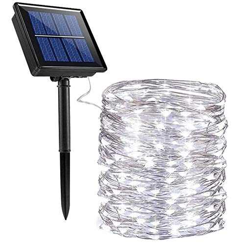 SOLARBABY Solar Fairy Lights, 200LED 8 Working Modes Solar Christmas Lights Outdoor Waterproof Copper Wire Solar String Lights for Christmas Holiday Party Garden Patio White