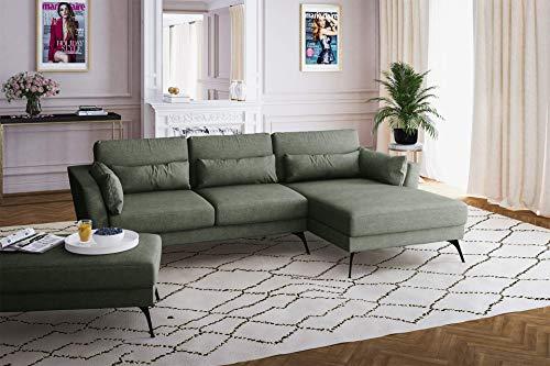 Canapé d'angle Tissu Confort Vert