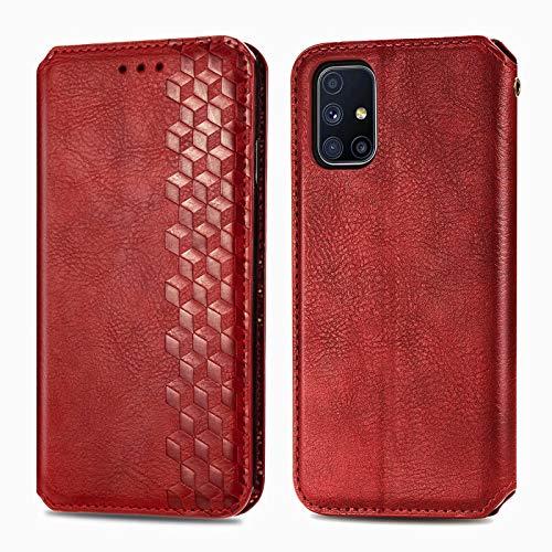TOPOFU Leder Folio Hülle für Samsung Galaxy M51, Premium PU/TPU Flip Wallet Tasche mit Kartenfächern, Magnetic, Book Style Lederhülle Handyhülle Schutzhülle (Rot)