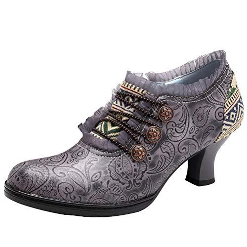 Mallimoda Damen Stiefel mit Absatz Weinlese Handgemachte Spitze Blumen Patchwork Knöchel Lederstiefel Grau 40 EU