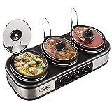 Sunvivi Electric Slow Cooker, 3x1.5 Quart Triple Slow Cooker Buffet Server, Food Warmer Crock Pot for Party Holiday, Adjustable Temp Removable Ceramic Pots Lid Rests