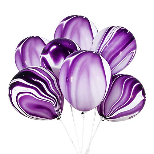 100 Pcs Marble Agate Latex Balloons, 10 Inches Party Balloon Decoration for Wedding, Birthday Party, Photobooth, Backdrop Etc.(Purple)