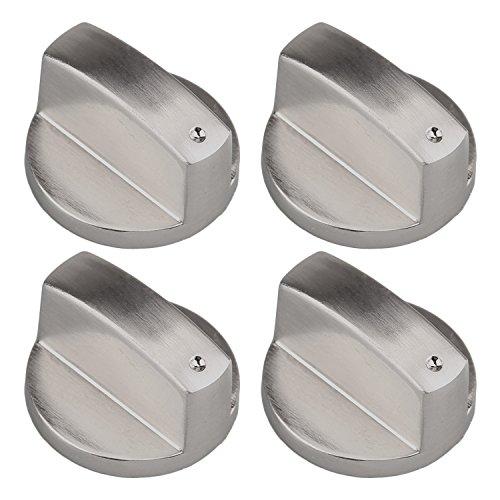 Gosear 4 Stk Metall 6mm Universal Silber Gas Herd Steuer Knöpfe Adapter Ofen Schalter Kochen Fläche Steuer Sperren