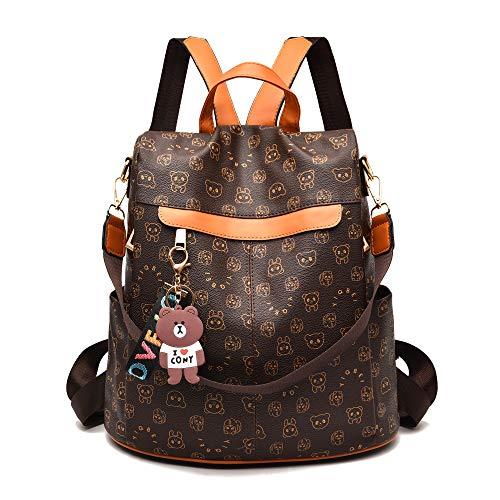 Women Backpack Purse, Chic Bear Convertible Anti-theft Rucksack Waterproof Bag