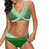 maozuzyy Bikinis Bañador Mujer Mujeres Polka Dot Push Up Bikini Traje De Baño Tallas Grandes Traje De Baño De Dos Piezas Traje De Baño De Cintura Baja-Mint_Green_5XL