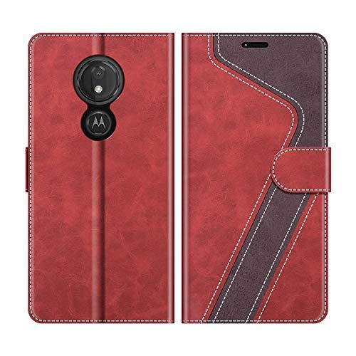 MOBESV Handyhülle für Motorola Moto G7 Power Hülle Leder, Motorola Moto G7 Power Klapphülle Handytasche Hülle für Motorola Moto G7 Power Handy Hüllen, Modisch Rot