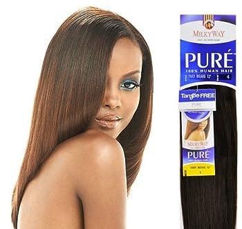 MilkyWay Human Hair Weave Pure Yaki 8  #1b