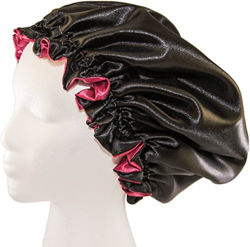 """(X-Large, BURGUNDY) New 24"""" Handmade Fully Reversible Luxuries Pure Satin Hair Bonnet Safe For All Hair Types - Most Beneficial Hair care Product Available - Royal Bonnet"""