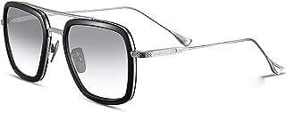 Retro Sunglasses Square Metal Frame for Men Women Tony Stark Sunglasses Downey Iron Man (the same color) Gradient Grey Lens