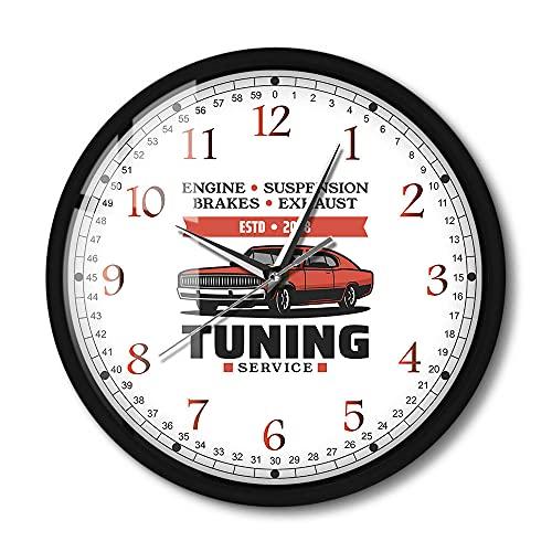 Reloj de Pared Servicio de Giro Activado por Sonido Reloj de Marco de Aluminio Negro Reloj mecánico de luz LED Reloj de reparación de automóviles 12 Pulgadas