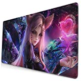 Ahri LOL League of Legends Mouse Pad Large Gaming Mouse Pad 15.8 X 29.5 in,Computer Keyboard Pad Desk Mat with Polyester Material and Non-Slip Rubber Base Design
