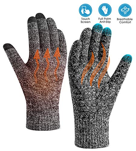 Winter Warm Touchscreen Gloves for Women Men - Triangle Anti-Slip Silicone Gel, Knit Thermal Soft Lining & Elastic Cuff, Driving Motorcycle Cycling Bike Sports Texting Gloves(One-Size, Black-White)