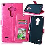 Funda LG G4 Stylus/LS770/G4 Note/G Stylo,Bookstyle 3 Card Slot PU Cuero Cartera para TPU Silicone Case Cover-Rosa Rojo