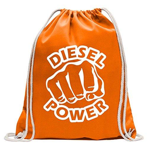 KIWISTAR - Diesel Power Schlag Faust Turnbeutel Fun Rucksack Sport Beutel Gymsack Baumwolle mit Ziehgurt