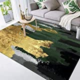 Modern Abstract Rug Light Luxury Carpet Emerald Green Gold Gray Area Rug Easy to Clean Stain Fade Resistant Living Dining Room Rugs,150200CM