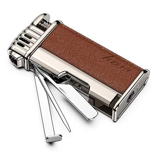 VVAY Mechero de tabaco para fumar con herramientas de metal en ángulo de llama suave butano gas rellenable regalo para hombres fumadores (se vende sin gas)