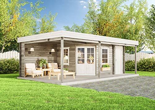 CARLSSON Alpholz Gartenhaus Johanna-40 Plus aus Massiv-Holz | Gerätehaus mit 40 mm Wandstärke | Garten Holzhaus inklusive Montagematerial | Geräteschuppen Größe: 714 x 402 cm | Flachdach