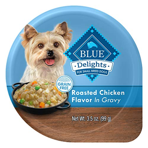 Blue Buffalo Delights Natural Adult Small Breed Wet Dog Food Cup, Roasted Chicken Flavor in Hearty Gravy 3.5-oz (Pack of 12)