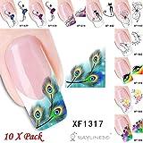 RayLineDo® 10X Pack Qualität Sohle Paket Maniküre Nail Sticker 3D Nail Tattoo Decals Pack