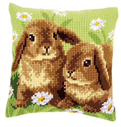 Vervaco–Kit para cojín de Punto de Cruz, diseño de Dos Conejos, Multicolor
