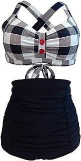 Jieming ファッションデザイン女性レトロ入浴スーツハイウエスト、黒のための女性のチェック柄ビキニ水着 (色 : Black Plaid, サイズ : M)