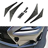 iJDMTOY 4pcs Black Front Bumper Canard, Body Diffuser Fins, Universal Fit Any Car Truck SUV
