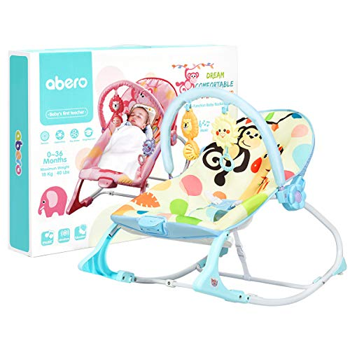 GYMAX Baby Swing Bouncer, Infant Adjustable Rocking Chair with Soothing Vibrations, Music Box and Toys, Newborn Rocker Seat for 0-36 Mouths (Blue)