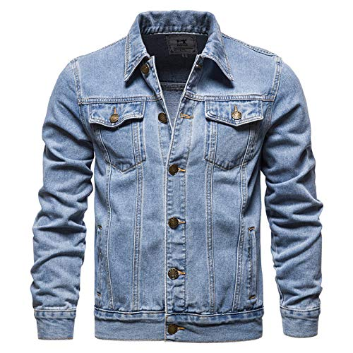 HUITAILANG Giacca di Jeans Uomo, Giacca di Jeans Monopetto con Risvolto Tinta Unita, Cappotto Moda, Blu, Asia 3XL 78,85 kg