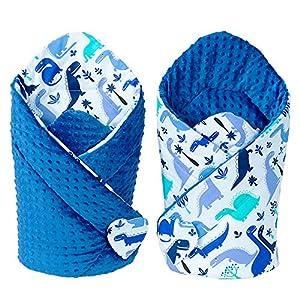 Sevira Kids – Saco Dormir D 'em Maillotage – Nido Ángel Nacimiento Minky Reversible – Colores Diferentes – Dino azul…