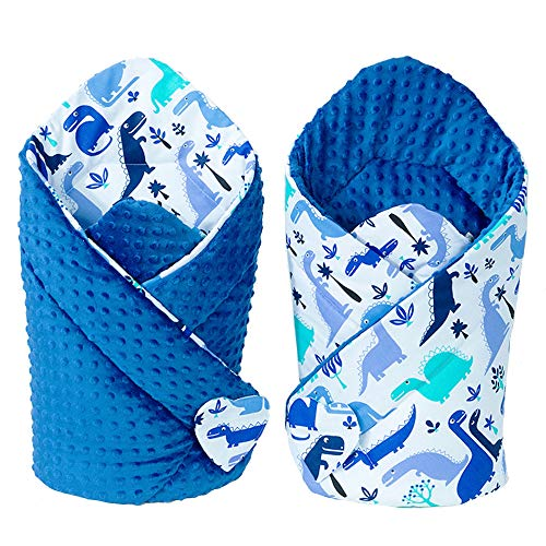 Sevira Kids - Gigoteuse d'emmaillotage - Hiver - Été - Bebe - Multi-Usage - 100% Coton - Minky Réversible - Nid d'ange - Cadeau Naissance - Dino Bleu royal