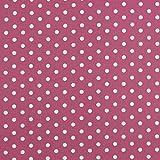 Hans-Textil-Shop Stoff Meterware Punkte 7 mm (Weiß auf
