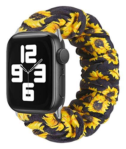 MONOBLANKS Scrunchie Elastic Watch Band Compatible for Apple Watch Band 38mm/40mm 42mm/44mm,Thick Elastic Band Replacement Compatible with for iWatch Series 4/3/2/1 (Sunflower, 38MM/40MM)…