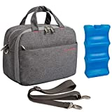 Lekebaby Insulated Baby Bottle Cooler Bag for 6 Baby Breastmilk Bottles with Ice Pack