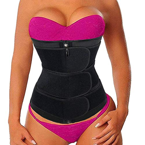 ALINBAIST Waist Trainer Trimmer Cincher Womens Long Torso Workout Sweat Bands Sauna Belt lose Belly Fat,X-Small Black