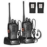 Unimped-888S Red de Radio walkie-Talkie Recargable con 16 Canales y Llamadas de Larga Distancia de 5 W, Luces LED integradas, 2 Auriculares, Apto para Todos los entornos 1 par