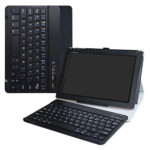 Asus ZenPad 10 Bluetooth Keyboard hülle,LiuShan Abnehmbare Bluetooth Tastatur (QWERTY, englisches Layout) mit Ständer für 10.0