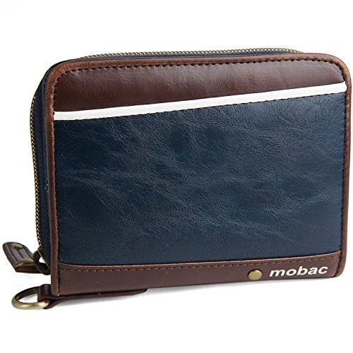 [モバック] mobac 二つ折り財布 ラウンドファスナー ジャバラ ツートンカラー アコーディオン (ネイビー)