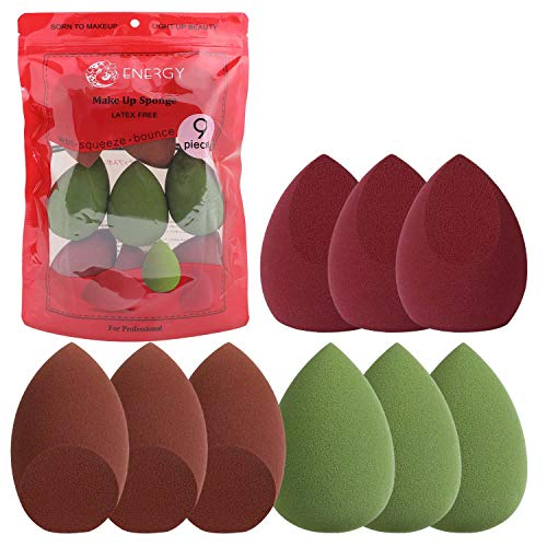 ENERGY 9 Stks Make-up Sponge Blender Set Beauty Foundation Blender Spons, Flawless Toepassen voor Vloeistof, Crème en Poeder, Multi-gekleurde Make-up Sponges
