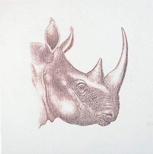 Echtes Kunsthandwerk: Toller Untersetzer Nashorn; Tier, Tiere, Afrika, retro, vintage, Fliese, Kunst, Kachel, Fliesenbild, Bild